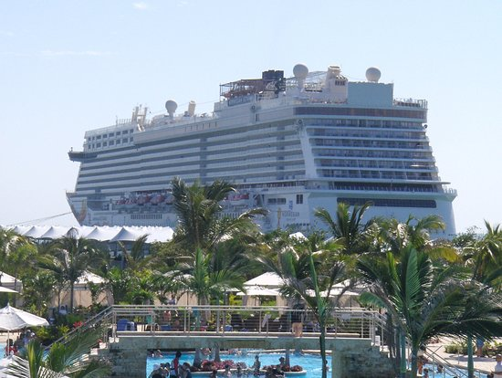 Norwegian Getaway: A view of the cruise ship from the second floor of Land Sharks Grill, it seems like its flying over the pool.