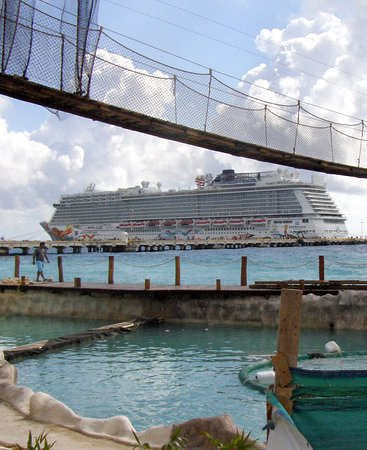 Norwegian Getaway: View of The NCL ship from Costa Maya Port.  They are constructing a dolphin encounter!