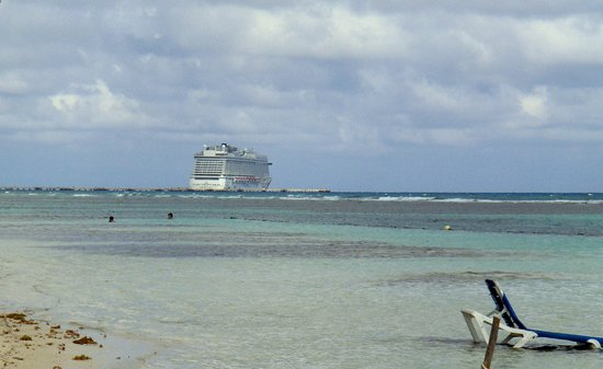 Norwegian Getaway: The view of the ship from the beach at Caribbean Life in Costa Maya Mexico.