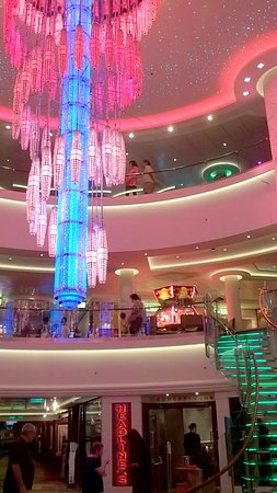 Norwegian Getaway: Beautiful chandelier with lights in the NCL Getaway Cruise Ship
