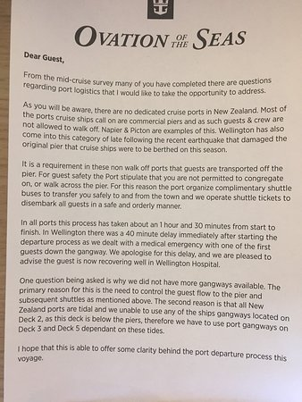 Ovation of the Seas: Letter from ship about getting off in NZ ports.