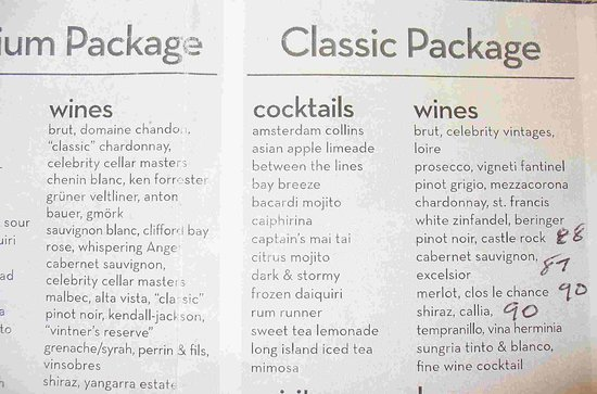 Celebrity Reflection: Drink packages ... see review for info on the accuracy of these lists.