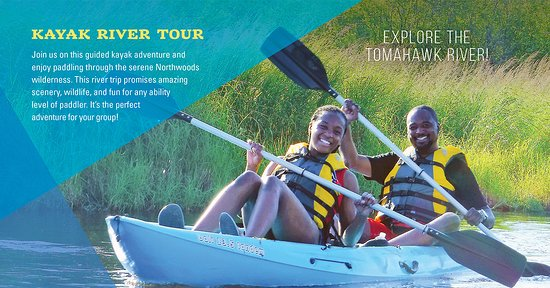 Explore the Tomahawk river with your friends or family lead by a guide who can help along the way!