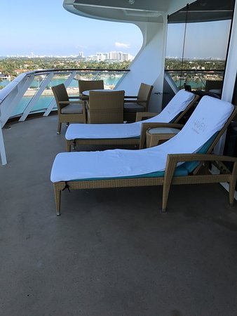 Norwegian Escape: Balcony from the sliding glass door.  This balcony was genuinely huge.