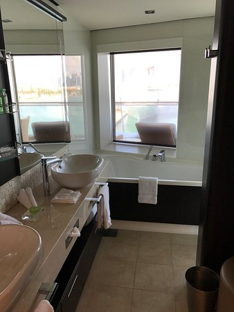 Norwegian Escape: Master Bathroom...  The Bathtub is a little small for 2, but it was fun to