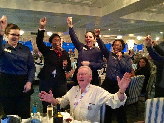 "American Cruise Lines staff singing ""Happy Birthday"""