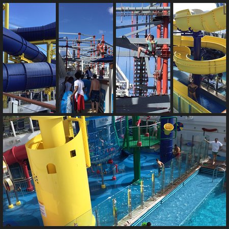 Norwegian Escape: Water slides, rope course and kids pool area