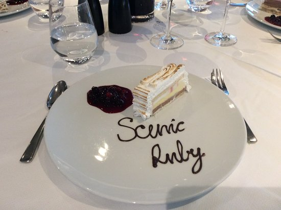 Scenic Ruby: On the meal on board we had a delicious meal, finished by this lovely desse