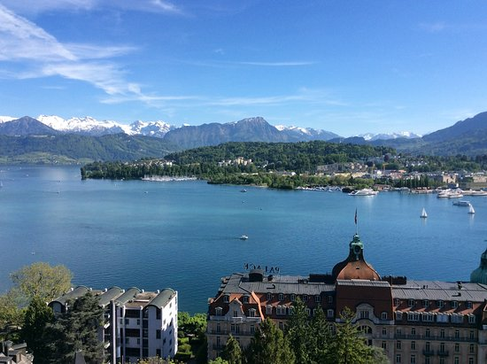 Viking Lofn: Lake Lucerne from our balcony in the Montana, our pre-cruise hotel.