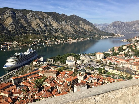 Riviera: View of ship in Kotor.
