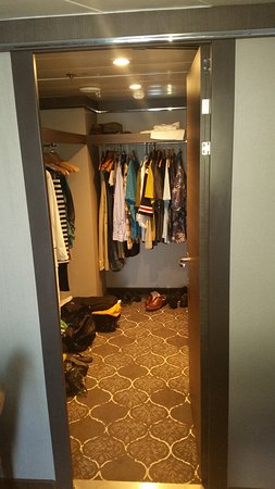 Harmony of the Seas: Walk-in closet.  The picture is taken from the bedroom.  If you walk into t