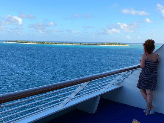 Pacific Explorer: Arriving at one of the islands, the view from our balcony