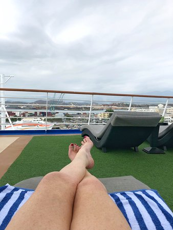 Pacific Explorer: View of Noumea from the Oasis deck chairs.