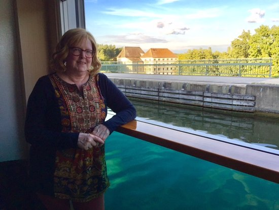 Scenic Amber: view from cabin balcony while cruising Danube