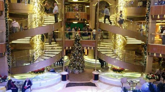Regal Princess: Atrium decorated beautifully for Christmas