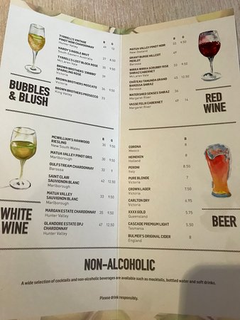 Pacific Eden: Wine list from The Pantry (food court)