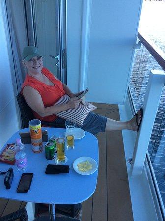 Viking Sun: Enjoying the veranda.