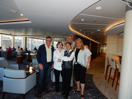 Viking Sky: In the Explorers Lounge - where we spent alot of evenings, with our waitre