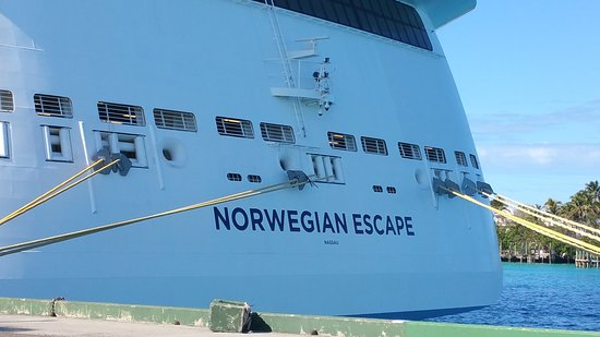 Norwegian Escape: This merely shows the ship name I travelled on.  I was super excited, heard this ship was amazing....I know now why they give away the ultimate drink package...to keep you drunk enough to not realize they are nickel and diming you to death.   Couldn