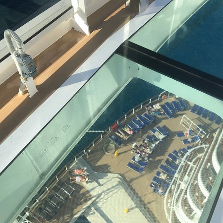MSC Seaside: View of South Beach Pool from Bridge of Sighs