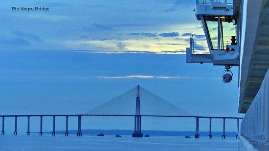 Viking Sea: Bridge over the Rio Negro taken from our balcony around sunset 12/26/2017