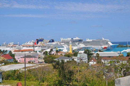 Norwegian Breakaway: View of 3 NCL ships in Nassau - Breakaway, Epic, and Sun.  The Getaway arri