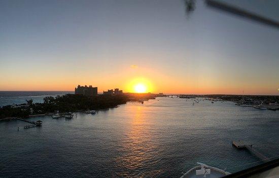 Norwegian Breakaway: Sunrise over Atlantis while docked in the Bahamas.