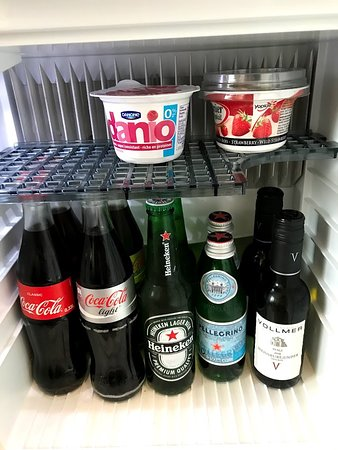 Viking Rinda: Mini fridge stocked with coke, beer and water