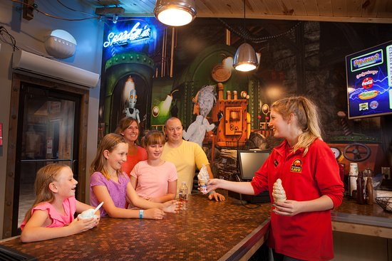 Get an ice cream treat at Sparky's Snackitorium at Rush Mountain Adventure Park, Home of Rushmore Cave.