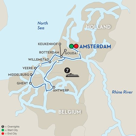 Avalon Impression: This is a map showing the itinerary of our river cruise.