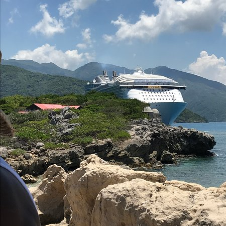 Harmony of the Seas: View of our ship at Labadee, Haiti