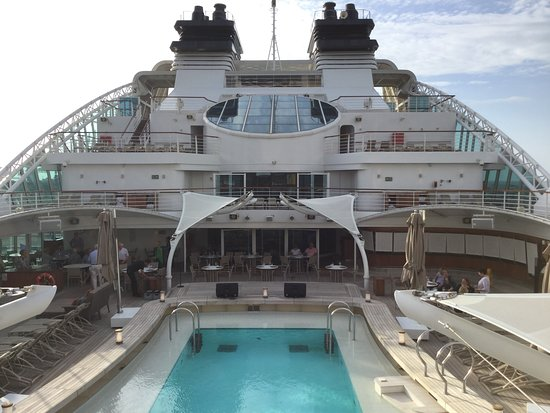 Seabourn Encore: pool view from sky bar on 10th floor