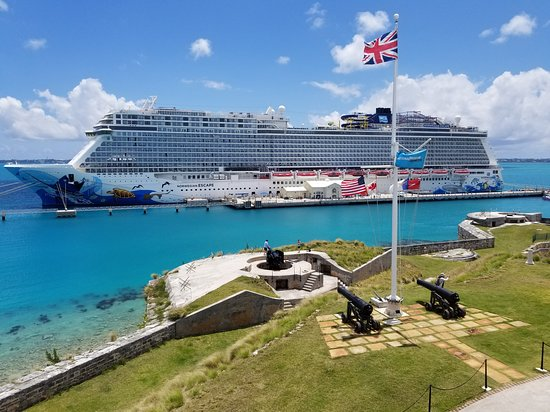 The Norwegian Escape as seen from the Royal Dockyard in Bermuda