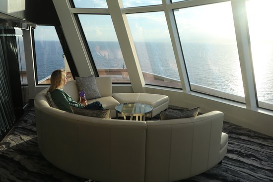 Norwegian Bliss: Super-comfortable seating in the observation lounge, with fantastic views f