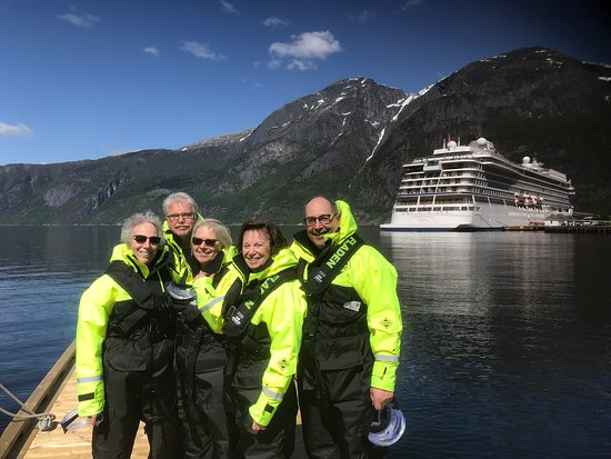 RIB boat ride into Eidfjord with Viking Sea in background