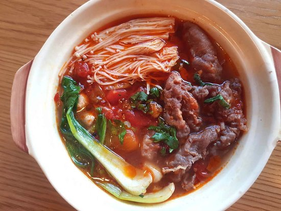 Beijing Cooking Pot: HOT AND SPICY BEEF AND ENOKI MUSHROOM COOKING POT