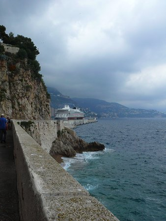 Viking ORION moored at Monte Carlo, seen from a shore-side walk during a to