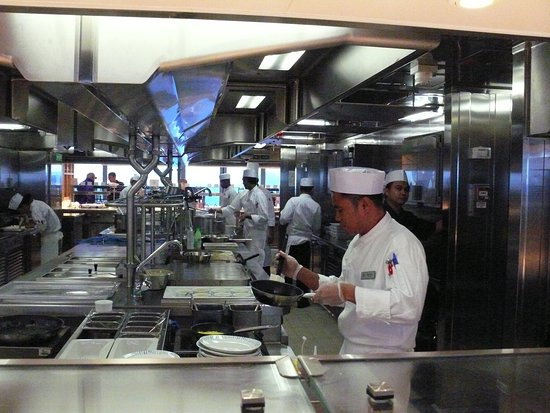 Viking Orion: The galley in the World Cafe on deck 7, looking from starboard to port, wit