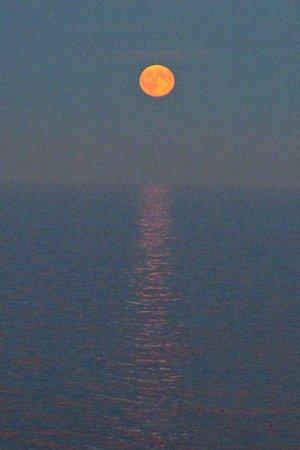 Viking Sea: moon rising over the North Sea
