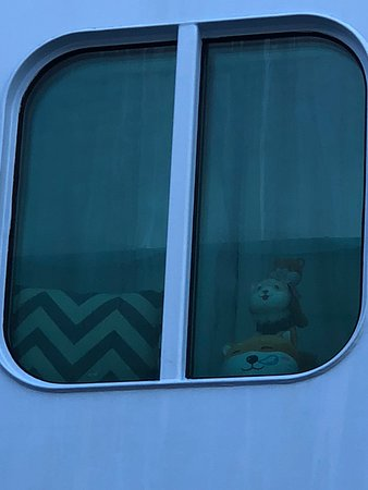 Quantum of the Seas: Plushies in cabin window as seen from port