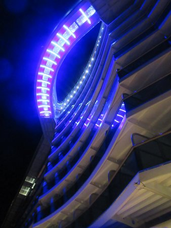 Regal Princess: Underneath the SkyWalk at night.