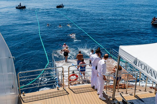 Le Laperouse: Swimming in the Indian Ocean off the back of the ship!  Carefully supervise