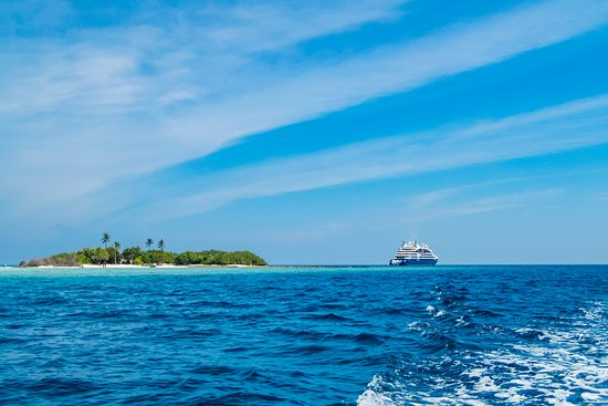 Le Laperouse: The ship from a Zodiac on its way to Rasdhoo island in the Maldives.  We we