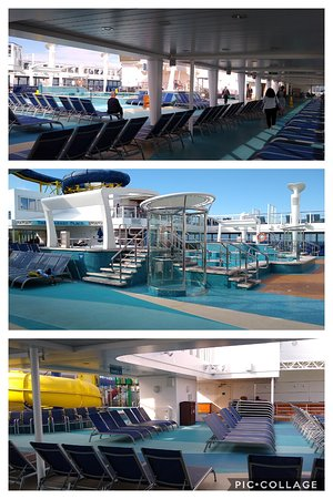 Norwegian Escape: Escape's pool deck # 16 on a chilly sea day, coming home - sailing off