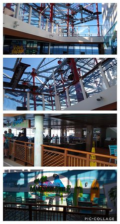 Norwegian Escape: Margaritaville & the Rope Course area, deck 17 and 18 as seen from here