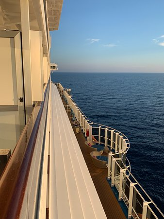 Carnival Vista: View from room looking forward, calm seas and smooth sailing