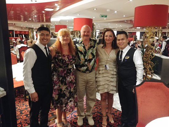 MSC Divina: Myself, husband, table mate, servers Cosme and Eric