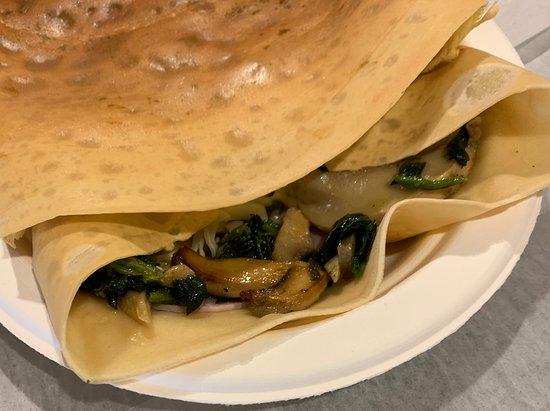 Enjoy Creperie: Ham n Cheese Spinach Mushrooms and Badil Garlic dressing