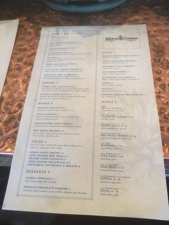 Jalisco Cantina main menu.