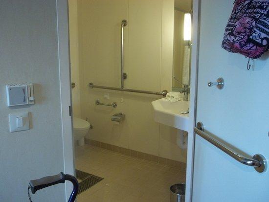 Royal Princess: Wide, threshold free door into AC bathroom, lots of grab bars, spacious.